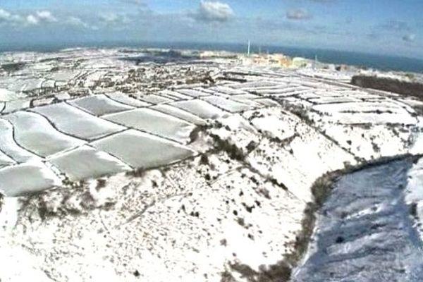 Images aériennes de la Manche sous la neige (mars 2013)