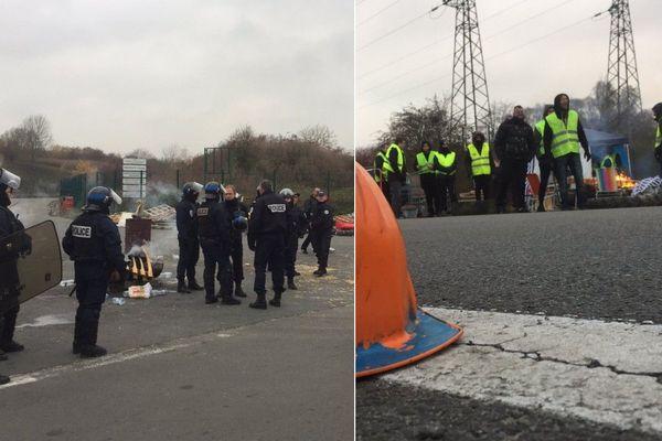 La police a délogé les gilets jaunes qui bloquaient le dépôt pétrolier d'Haulchin.
