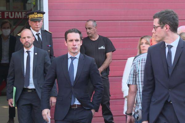Jean-Baptiste Djebbari, ministre délégué aux transport est venu mardi soir à Bayonne rencontrer les collègues du chauffeur de bus agressé dimanche.