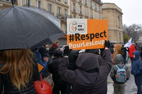 Association One Voice. Manifestation pour la défense du loup. Paris. Mars 2018.
