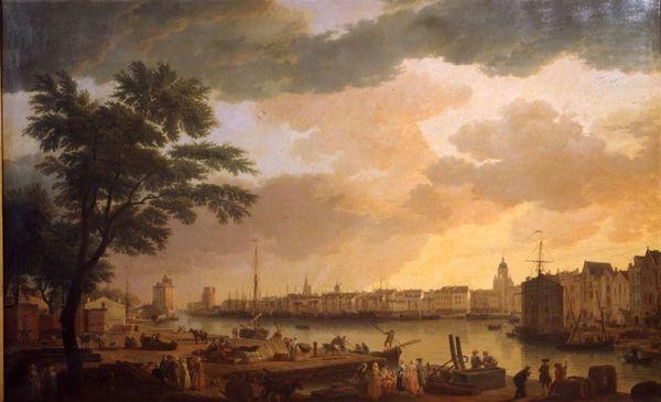 Vue du port de La Rochelle par Vernet en 1762 (copie par Pinel en 1866)