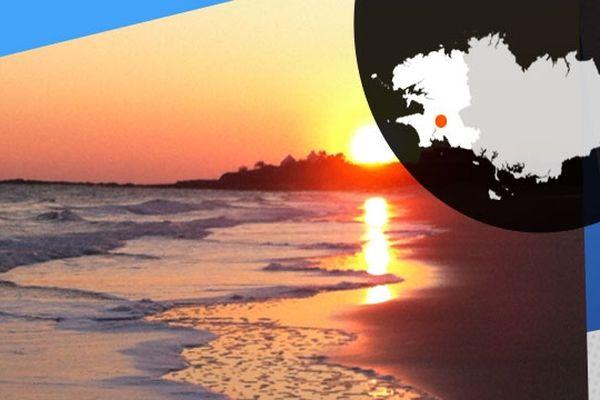 """Coucher de soleil sur la plage de Raguénez aussi surnommée """"Tahiti"""""""