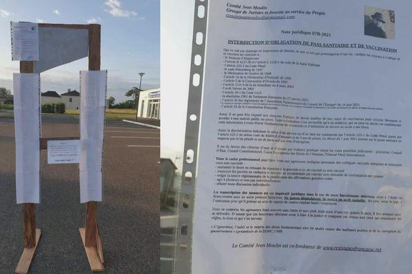 L'une des trois guillotines en bois et en carton placées dans les Landes le 24 juillet et menaçant des élus favorables au passe sanitaire.