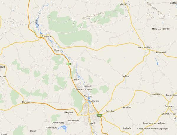 Localisation des travaux sur la RN 57 dans le secteur d'Igney (88).