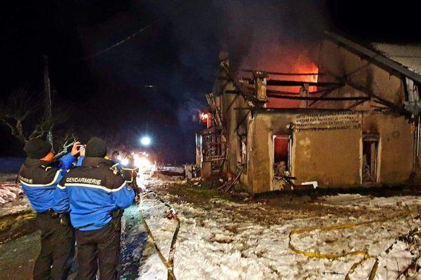 Incendie d'un corps de ferme, dimanche 17 janvier, Pont d'Héry, Jura