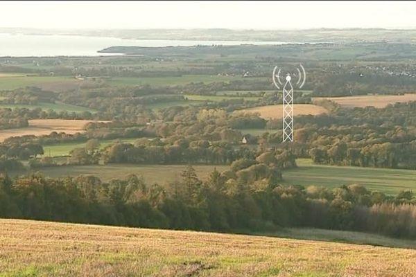 L'antenne-relais, schématisée sur la photo, doit être installée dans la commune de Locronan.