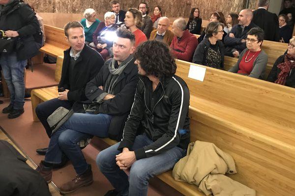 Sur le banc de la partie civile, les trois victimes de l'Abbé de Castelet, Paul-Benoît Wendling Philippe Cottin, Olivier Savignac.
