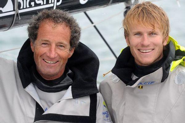 François Gabart et Michel Desjoyaux pendant un entraînement en septembre dernier