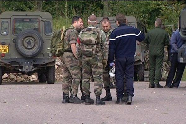 De nombreux militaires sur place après le crash du Mirage 2000 de Froideconche