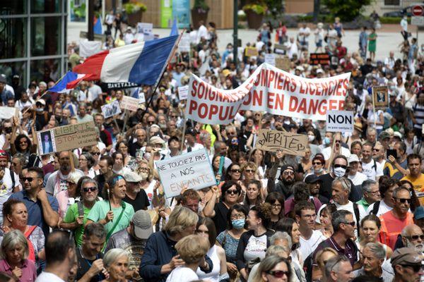 Photo d'illustration. Manifestation contre le pass sanitaire à Annecy ce 31 juillet.