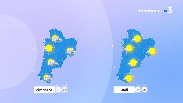 Pluie dimanche, retour du soleil lundi mais des températures maximales en baisse...