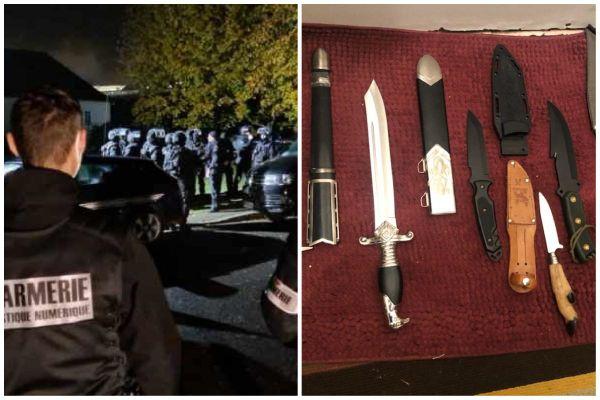 L'interpellation du jeune homme vendredi 23 octobre à Blois / une partie des armes retrouvées à son domicile.