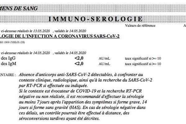 Test sérologique négatif mesurant les IgG et les IgM