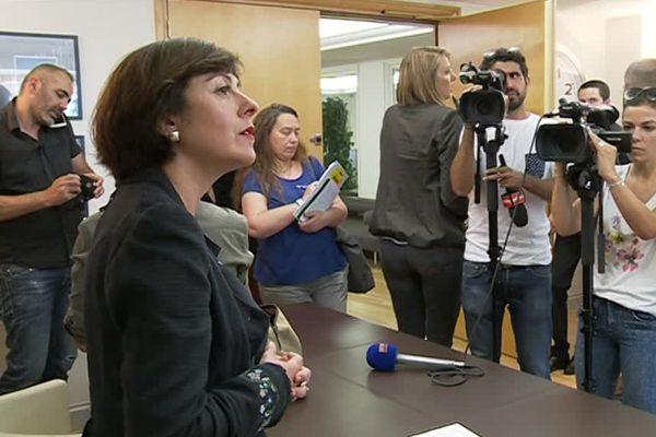 Carole Delga à l'hôtel de région de Montpellier le 16 juin 2016  donne le résultat de la consultation citoyenne.