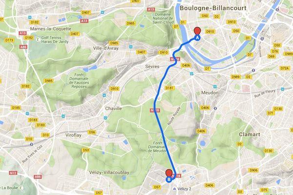 L'itinéraire du téléphérique devrait suivre celui de la RN118, très bouchée aux heures de pointe