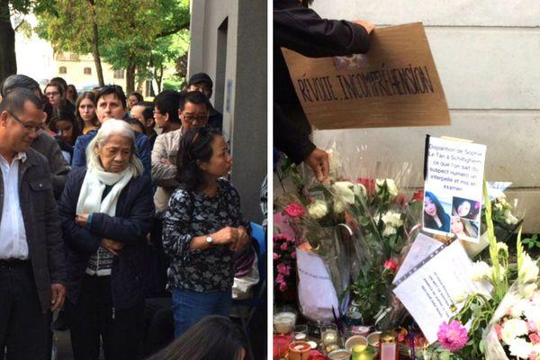 Un rassemblement en hommage à la jeune femme a eu lieu en début d'après-midi devant l'immeuble de Jean-Marc Reiser, principal suspect dans la disparition de Sophie Le Tan.