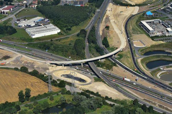 Les travaux du nouvel échangeur A23/A2 près de Valenciennes, en août dernier.