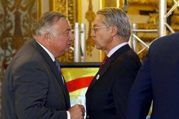Gérard Larcher et Philippe Marini, le 28 septembre 2014 au Sénat.
