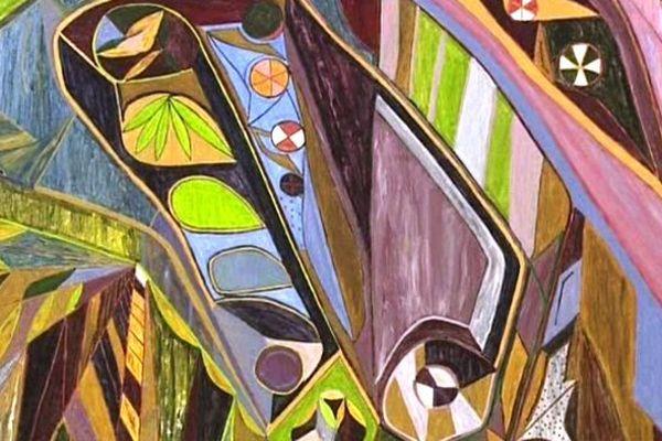 Détail d'un tableau de Jules Godi à la maison des Arts de Bages.
