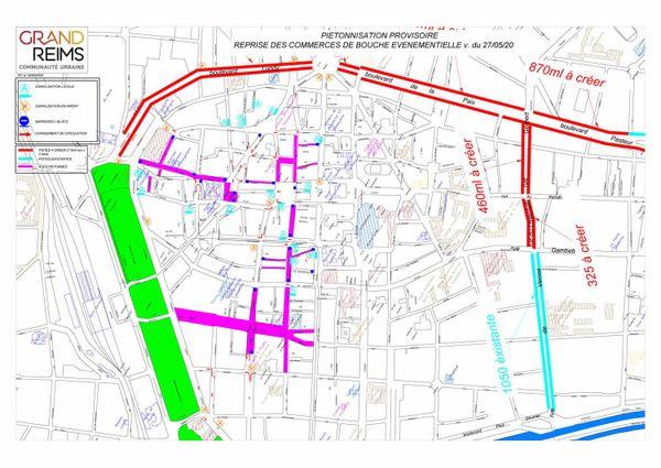 Plan de la piétonisation provisoire et sens de circulation mis en place les week-ends à Reims