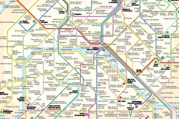 Un aperçu de la carte conçue par Lucas Destrem, qui se base sur le plan de la RATP en vigueur en décembre 2020.