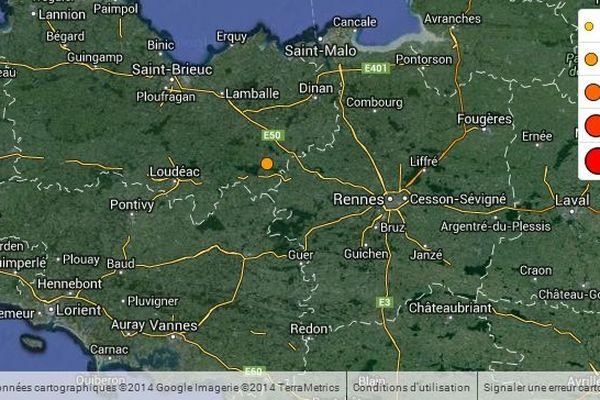 La carte du réseau national de surveillance sismique fait état du séisme de Saint-Méen-Le-Grand (35) ce dimanche 31 août 2014