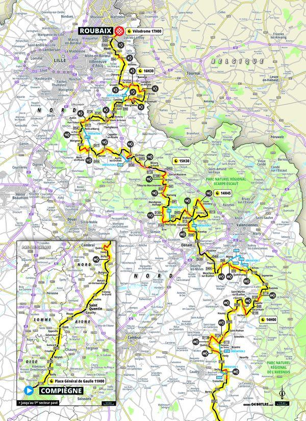 Tracé de la 118e édition du Paris-Roubaix, le 3 octobre prochain.