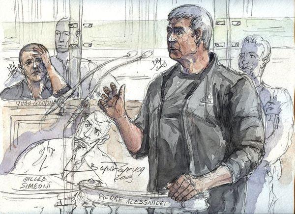 Croquis d'audience de Pierre Alessandri, à la barre, le 9 mars 2009, au cours du procès en appel d'Yvan Colonna.