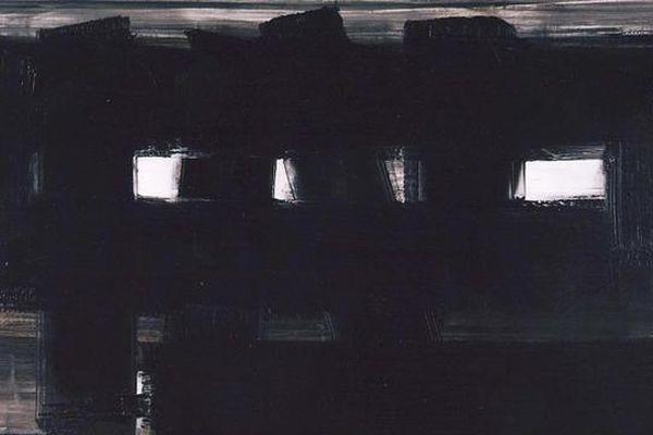 Huile sur toile de Pierre Soulages. Oeuvre signée. 1955
