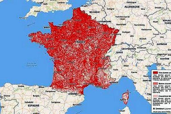 La couverture des opérateurs de téléphonie mobile en France - septembre 2017.