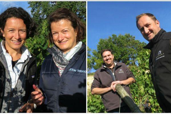 Sylvie et Marie Courselle, co-gérantes du château Thieuley à gauche, et Yann et Karl Todeschini, aujourd'hui de grands producteurs, à droite