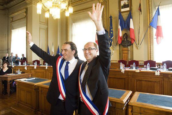 Guillaume Delbar (gauche) et son premier adjoint Max-André Pick, en 2014.