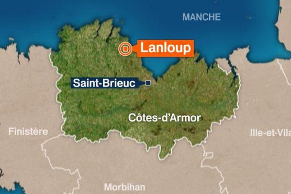 L'accident mortel s'est produit sur la D54 à hauteur de Lanloup (Côtes-d'Armor).