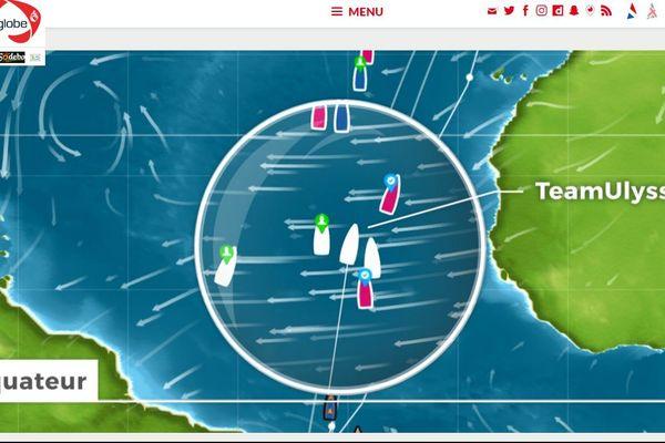 Sur cette capture écran du site du Vendée Globe, on peut suivre les embarcations virtuelles de classes d'écoles.