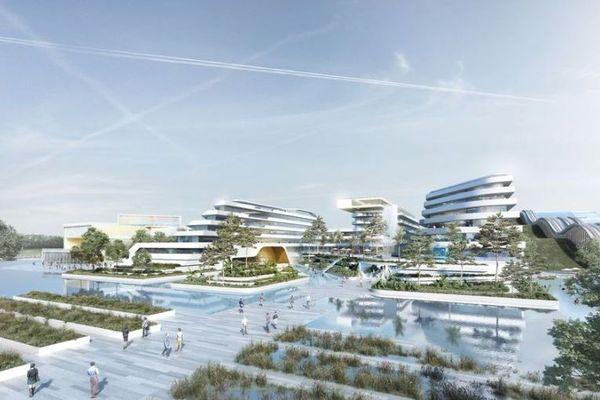 L'hôtel du parc aquatique, à EuropaCity (vue d'artiste).