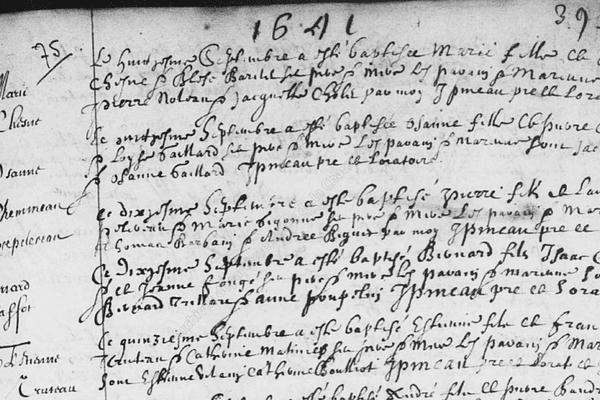 L'acte de baptême d'Etienne Truteau, né en 1641 à La Rochelle, aïeul du Premier ministre canadien, Justin Trudeau.