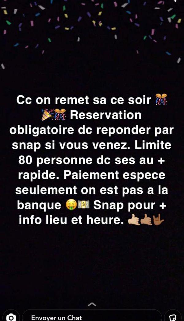 Capture d'écran d'un compte Snapchat proposant des soirées clandestines en Corse.