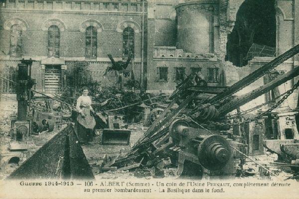 L'usine Pernaut à Albert après un bombardement
