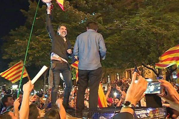 Jordi Cuixart, à Barcelone, lors d'une manifestation pro-indépendantiste avant le referendum de 2017.