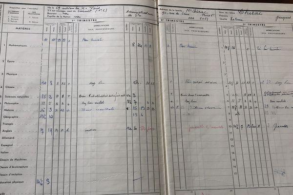 Le bulletin de notes de terminal de l'élève Chirac au lycée Louis-Le-Grand.