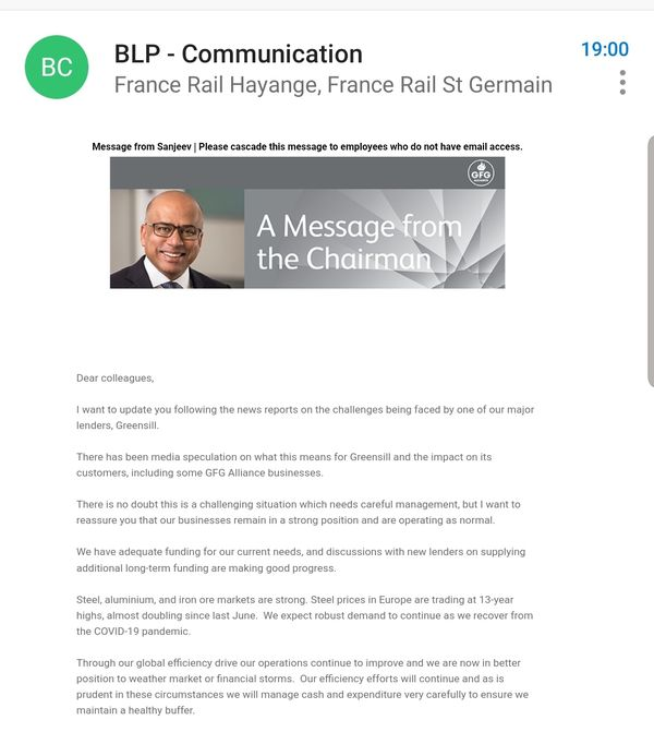 Sanjeev Gupta a adressé mardi 10 mars une communication (en anglais) aux salariés du site d'Hayange.