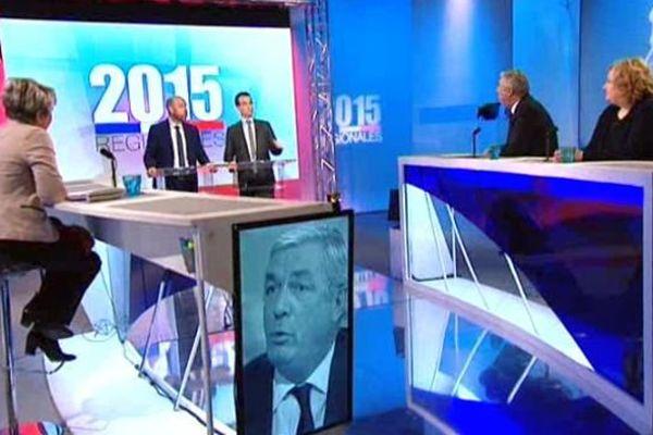 Les trois têtes de liste en course pour le second tour des élections régionales ont débattu sur France 3 Bourgogne et Franche-Comté mercredi 9 décembre 2015.
