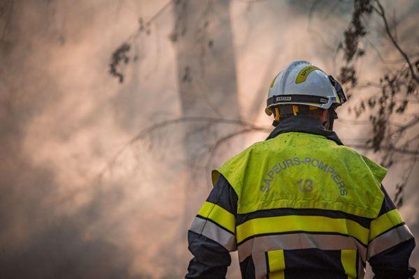 Illustration. Un sapeur-pompier des Bouches-du-Rhône en tenue d'intervention lors d'un incendie de forêt.
