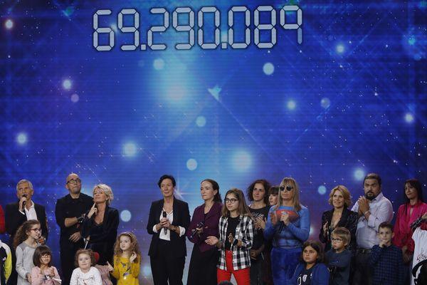Le plateau du Téléthon 2018 où le compteur de dons s'est arrêté, le dimanche 9 décembre.
