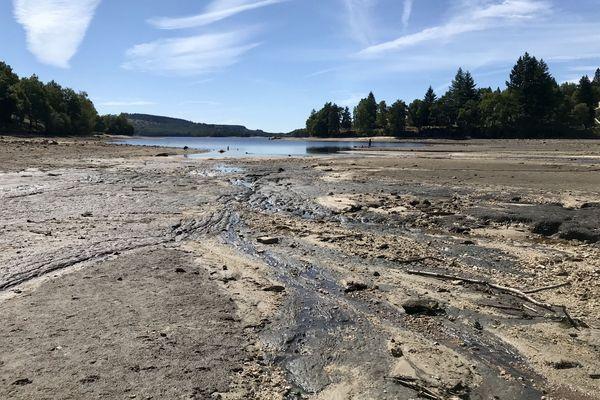 La baisse du niveau du lac de Vassivière est déjà impressionnante.