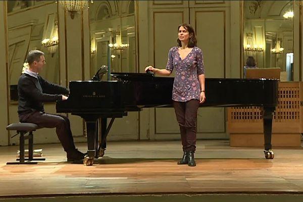 Hélène Le Corre et Alexander Martin en répétition à la salle de l'Institut - Conservatoire d'Orléans - 12 décembre 2018