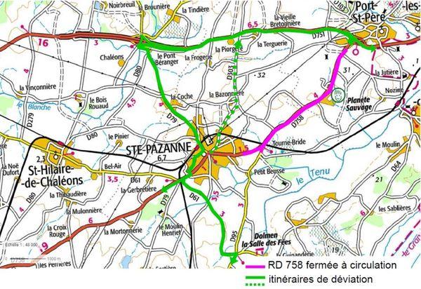Travaux de nuit et déviation sur la RD 758 entre Port-Saint-Père et Sainte-Pazanne du 23 08 au 01 09 en Loire-Atlantique