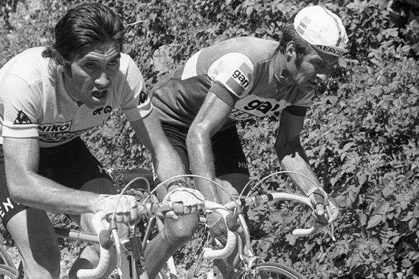 La bataille entre Merckx et Poulidor le 7 juillet 1974 entre Gaillard et Aix-les-Bains
