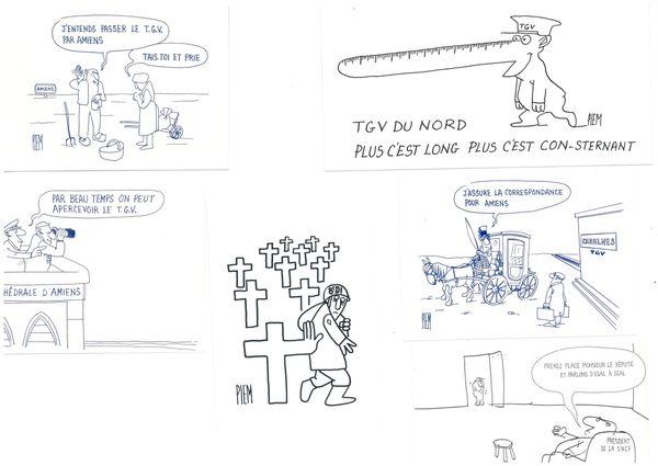 Cartes postales de Piem pour dénoncer le tracé du TGV Nord
