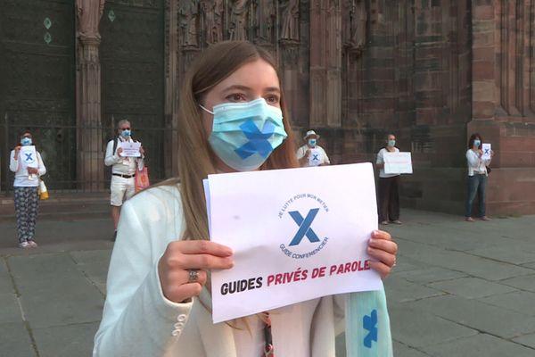 Juliette Bossert, guide-conférencier à Strasbourg lors de la Flashmob, le 19 septembre 2020